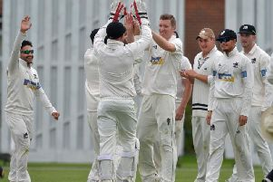 Roffey celebrate a wicket in the game against Eastbourne which clinched them the Sussex Cricket League title last season. Picture by Jon Rigby