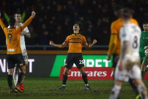 Mickey Demetriou celebrates Newport County's FA Cup replay win over Middlesbrough. Picture: Getty Images