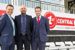 om Acott (centre) joins Rob Andrew (left) and Chris Coleman (right) at The 1st Central County Ground / Picture: Sussex Cricket