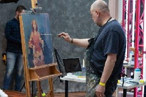 Phil Tyler painting Angela Griffin