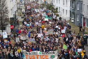 Hundreds of young people marched through Brighton today