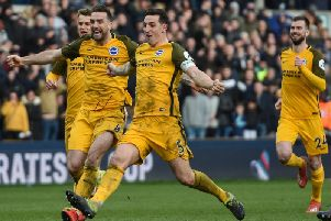 Lewis Dunk leads the celebrations after Brighton beat Millwall to reach the FA Cup semi-finals. Picture by PW Sporting Photography