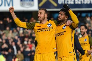 Jurgen Locadia celebrates with Glenn Murray. Picture by PW Sporting Photography