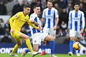 Action from Brighton's Premier League match with Chelsea earlier this season. Picture by PW Sporting Photography