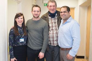 Speech therapist Claire Rodd, Jack Ashton, patient Richard, and Ear, Nose and Throat consultant Karan Kapoor.