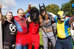 Participants in the superhero-themed fundraiser last year. Photograph: Neil Stoddart