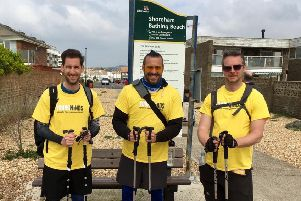 The walk and talk reaches Shoreham, from left, John Gooden, Steve McKeown and Phil Burman