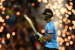BIRMINGHAM, ENGLAND - SEPTEMBER 15: Delray Rawlins of Sussex leaves the field after being dismissed during the Vitality T20 Blast Final between Sussex Sharks and Worcestershire Rapids at Edgbaston cricket ground on September 15, 2018 in Birmingham, England. (Photo by Philip Brown/Getty Images) SUS-190415-122545002