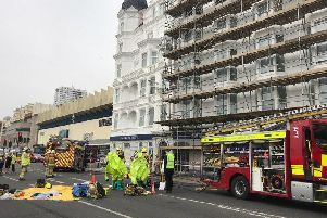 The fire service at the hotel on Brighton seafront
