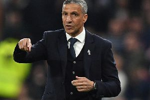 Chris Hughton gestures during the English Premier League football match between Tottenham Hotspur and Brighton and Hove Albion at the Tottenham Hotspur Stadium in London. Photo credit: DANIEL LEAL-OLIVAS/AFP/Getty Image