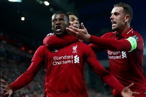 Georginio Wijnaldum celebrates one of his two goals in the Champions League semi-final second leg against Barcelona. Picture by Getty Images