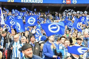 Brighton fans pictured at Wembley for their FA Cup semi-final with Manchester City. Picture by PW Sporting Photography