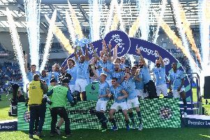 Manchester City celebrate winning the Premier League. Picture by PW Sporting Photography