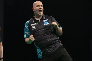 Rob Cross celebrates during his win against Mensur Suljovic...UNIBET PREMIER LEAGUE DARTS 2019...FLYDSA ARENA , ...SHEFFIELD...PIC LAWRENCE LUSTIG