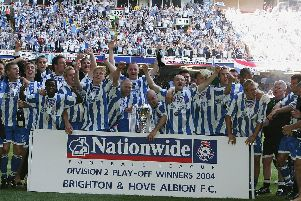 Brighton players celebrate beating Bristol City in the Division 2 play-off final. Picture by Getty Images