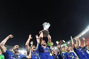 Chelsea celebrate winning the Europa League on Wednesday. Picture by Ozan Kose/AFP/Getty Images