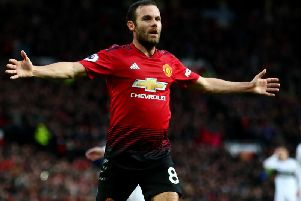 Juan Mata celebrates scoring a goal for Manchester United. Picture by Getty Images