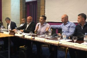 Moulsecoomb Way Meeting  Brighton and Hove City Council planning manager east Paul Viner, parking infrastructure manager Charles Field, Moulsecoomb Local Action team chair Barry Burtenshaw, Moulsecoomb and Bevendean Labour councillor Daniel Yates, C