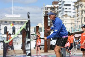 Former British and Wimbledon star Julie Hobbs at the Tennis for Kids session on Brighton seafront (Credit: Stuart Butcher)
