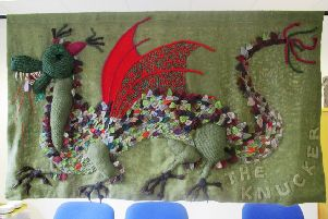 The knucker dragon created by the knitting and crochet group at Lancing and Sompting U3A