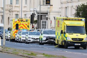 Emergency services outside the Smart Seaview Hotel along Hove seafront