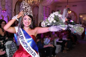 Make-up adviser Christina Loizou was crowned Miss Brighton 2019/20 during a glittering  live regional final at The Mercure Hotel  in Brighton
