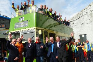 Chris Pearce, front, third left, celebrates his retirement with Stagecoach South colleagues at Worthing bus garage