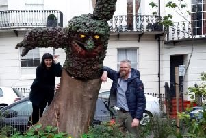 Norfolk Square, Hove's newest resident- Marvin the monster