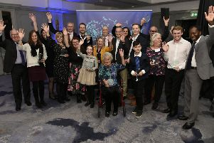 All of the winners at the Best of Sussex Community Awards with editorial director for Sussex Gary Shipton and compere Ambrose Harcourt (Picture: Liz Pearce)