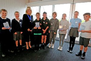 One of the schools collecting their award at the celebration event, photo by Stephen Lawrence