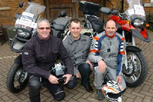 Bike ride for Neuro Foundation and Milton Keynes MS Group. From the left,Doug Ridley,Oliver Hornsey and Chris Hough.'120318M-A515