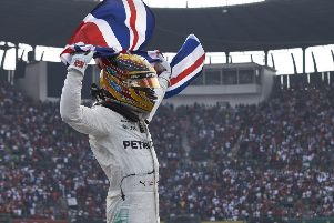 Hamilton celebrates in style