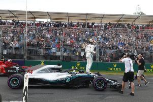 Lewis Hamilton starts the race on pole position