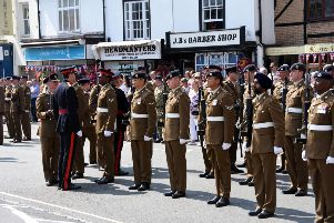 Troops from 1 Regiment Royal Logistics Corp (RLC) on parade in Bicester town centre to mark receiving the freedom of the town. PNL-180726-103951001