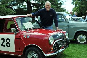 Classic Vehicles in the Park, Brackley. Racer, Barrie 'Whizzo' Williams from Turweston with his 1963 Mini Cooper S rally car. PNL-140831-170451009