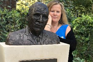 Artist Julia Beer with her statue of Sir Harold Gillies