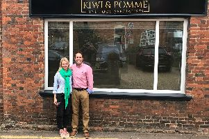 Jonathan and Catriona Oldershaw outside Kiwi and Pomme