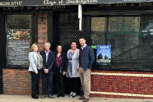 Left to right: Rebecca Gulliver(Project Co-ordinator - Newbottle Investments Ltd), Dicky Cox (Former Employee of John Clay started work in 1956), Robi Brenchley (Business Development Manager - Newbottle Investments Ltd), Margaret Behan (Owner of Newbottle Investments Ltd) and Chris Rogers (Brink Architects)