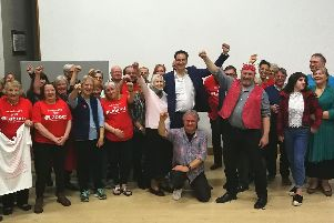 Peter Stefanovic with Mayor Jon Harvey, councillor Robin Stuchbury and Labour Party supporters