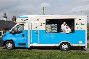 Jamie Bachman and Charlotte King with their Howe and Co's mobile fish and chip van - they have come in the top 10 fish and chip vans in the country