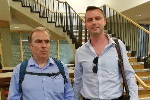 Journalist Peter Hitchens with Buckingham and Winslow Advertiser reporter Sam Dean