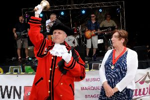 Buckingham Bandjam 2019. Town Crier, Russell Cross and Deputy Mayor, Cllr. Geraldine Collins open the event.
