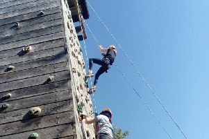 The climbing wall was among the adventurous activities at Cosgrove