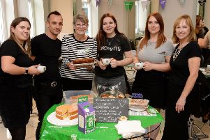 Macmillan coffee morning - pictured are staff from Browns Hairdressing Group, Buckingham