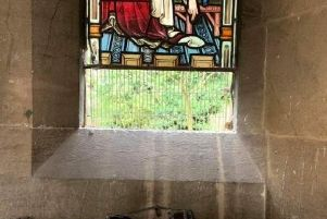 The damaged window at St Peter and St Paul's Church in Buckingham