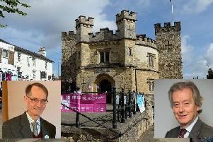 Buckingham's Old Gaol (inset Left, Michael Sheppard of the Green Party and right, Stephen Dorrell of the Liberal Democrats)