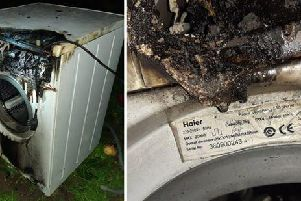 The washing machine after it caught fire in Milton Keynes