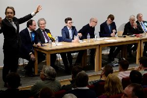 2019 election hustings at the University of Buckingham - from left university vice-chancellor Sir Anthony Seldon introducing Greg Smith, Conservative, Stephen Dorrell, Liberal Democrats, Ned Thompson, Independent, Paul Graham, debate co-chairman, Adam Mackintosh, debate co-chairman, David Morgan, Labour and Andrew Bell, Brexit Party