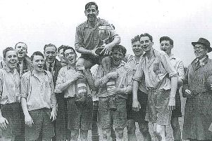 Bierton celebrate winning the Oving Village Cup in 1953