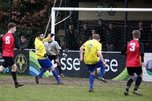 Match action from Berkhamsted's thumping win over Tring Athletic. Picture (c) Ray Canham